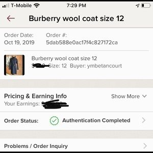 Burberry coat authenticated